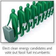 Elect clean energy candidates and vote out fossil fuel incumbents